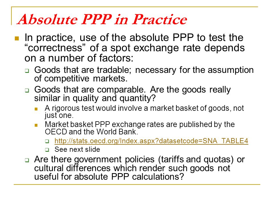 Absolute PPP in Practice