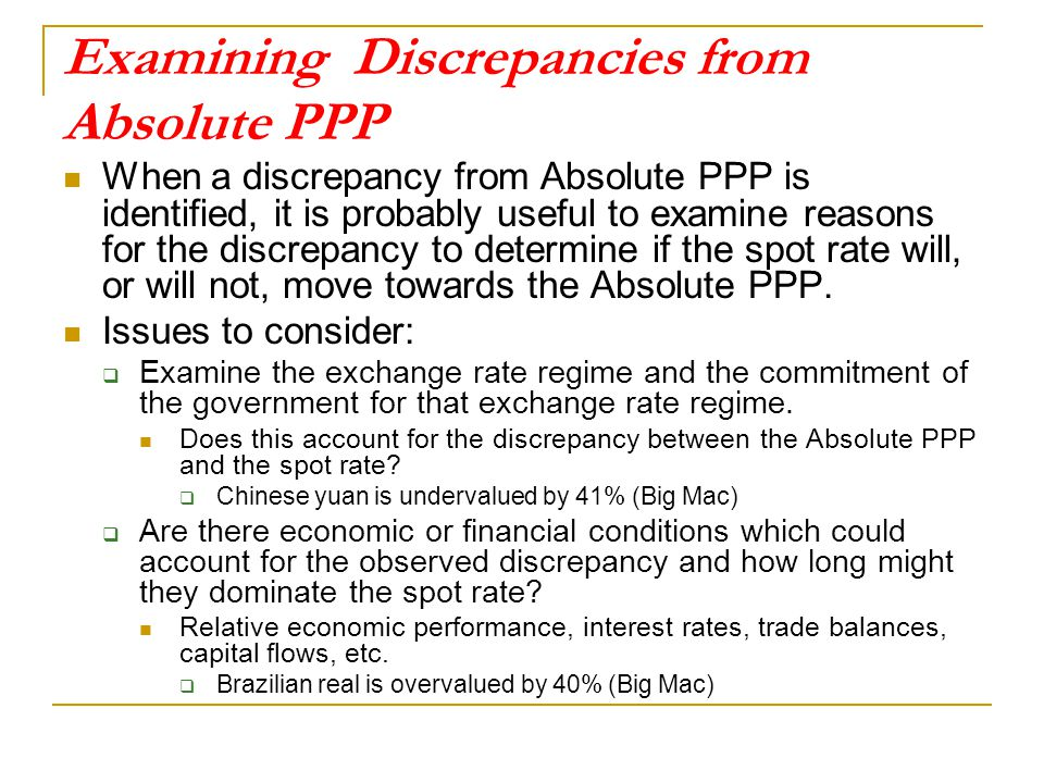 Examining Discrepancies from Absolute PPP