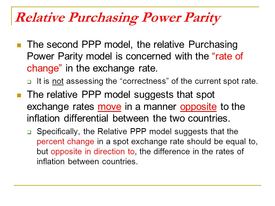 Relative Purchasing Power Parity