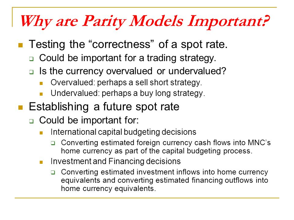 Why are Parity Models Important