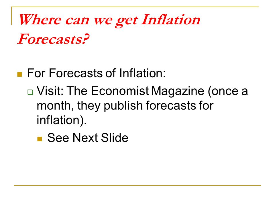 Where can we get Inflation Forecasts