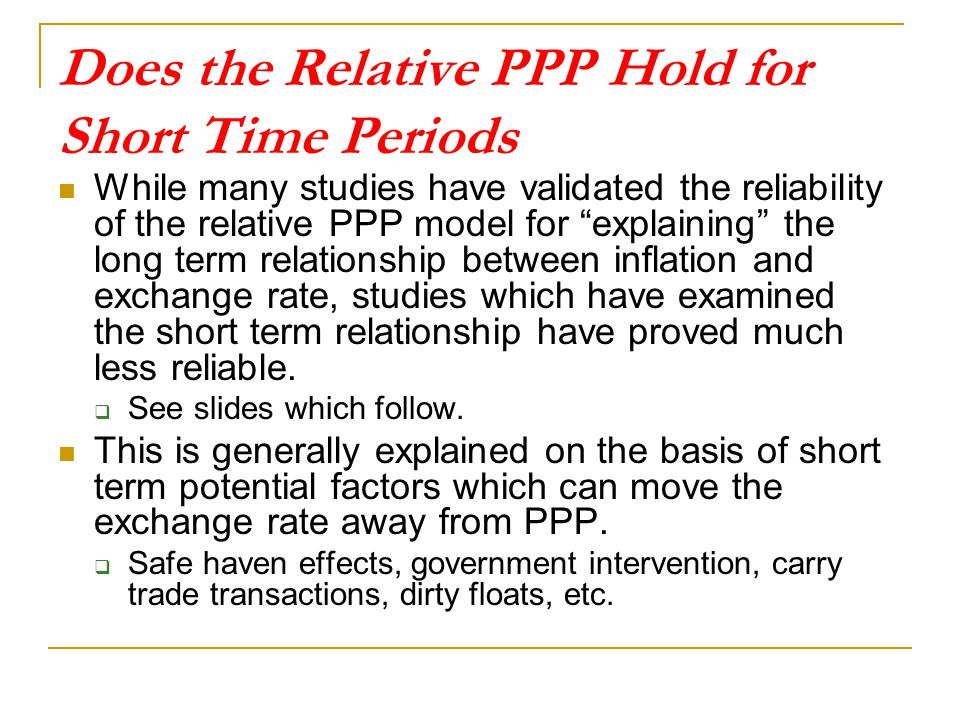 Does the Relative PPP Hold for Short Time Periods