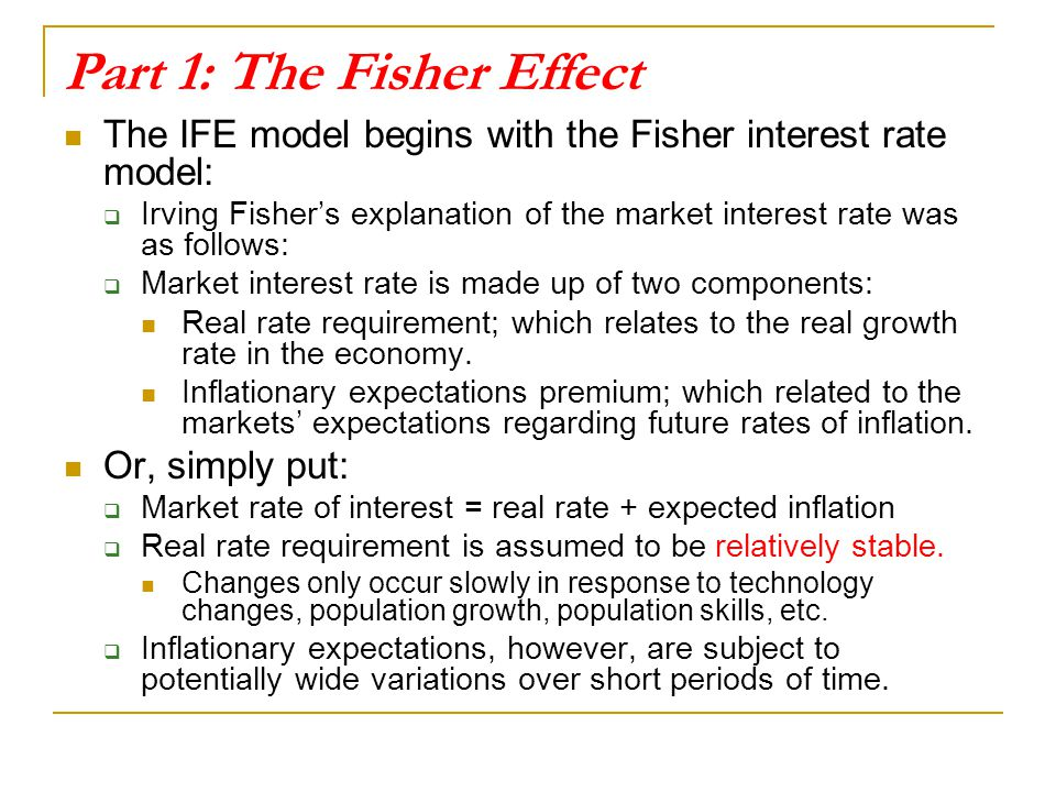 Part 1: The Fisher Effect