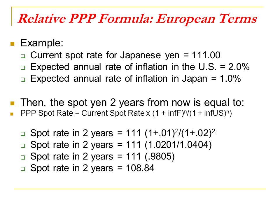 Relative PPP Formula: European Terms