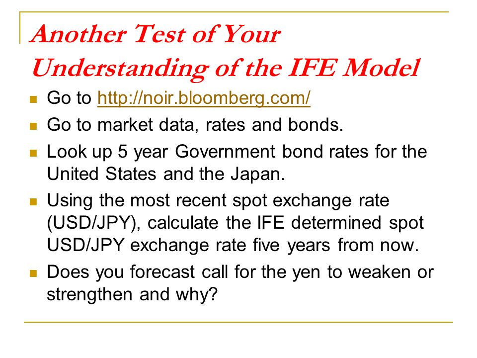 Another Test of Your Understanding of the IFE Model