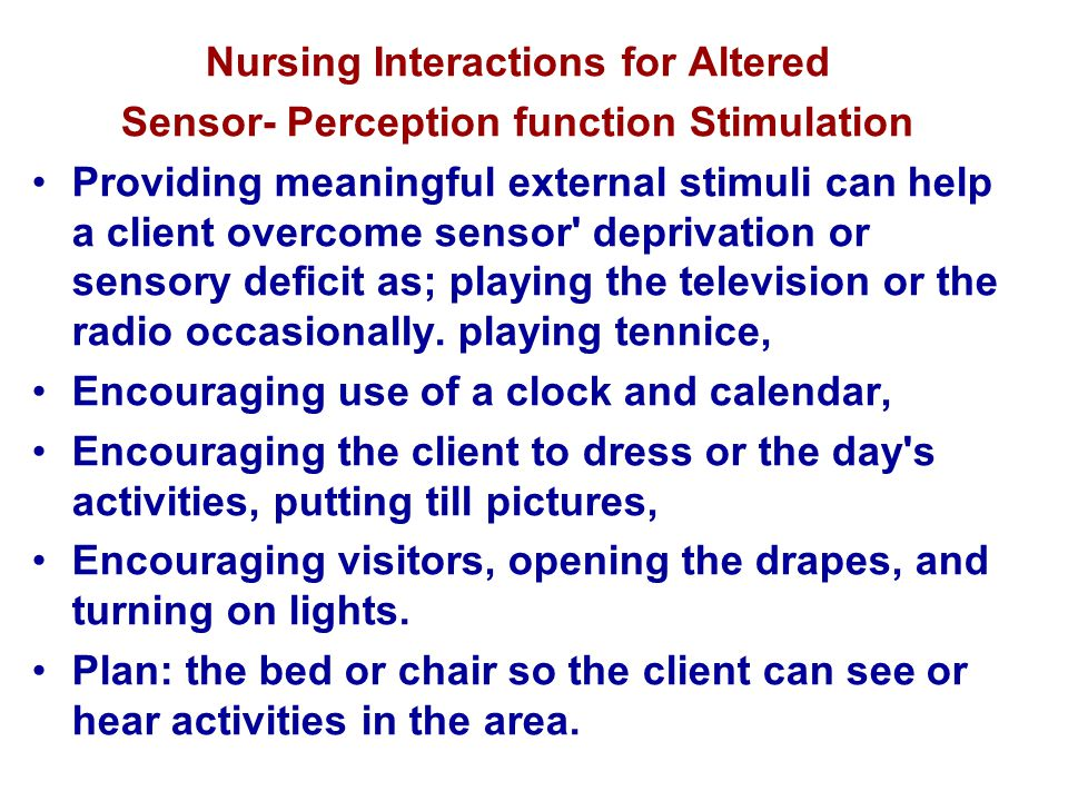 Nursing Interactions for Altered