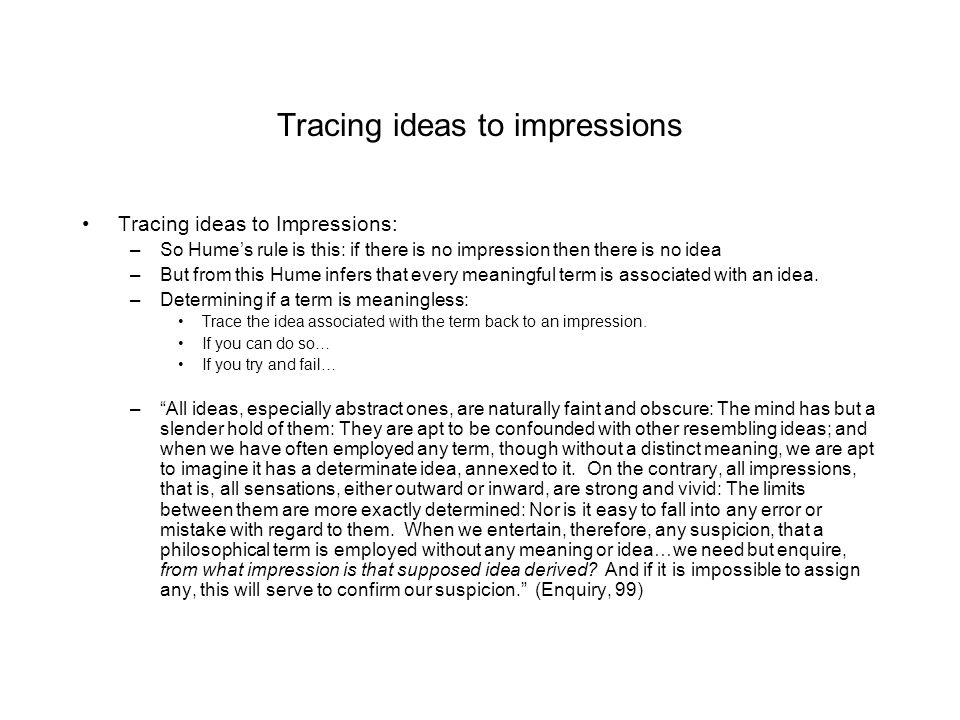 Tracing ideas to impressions