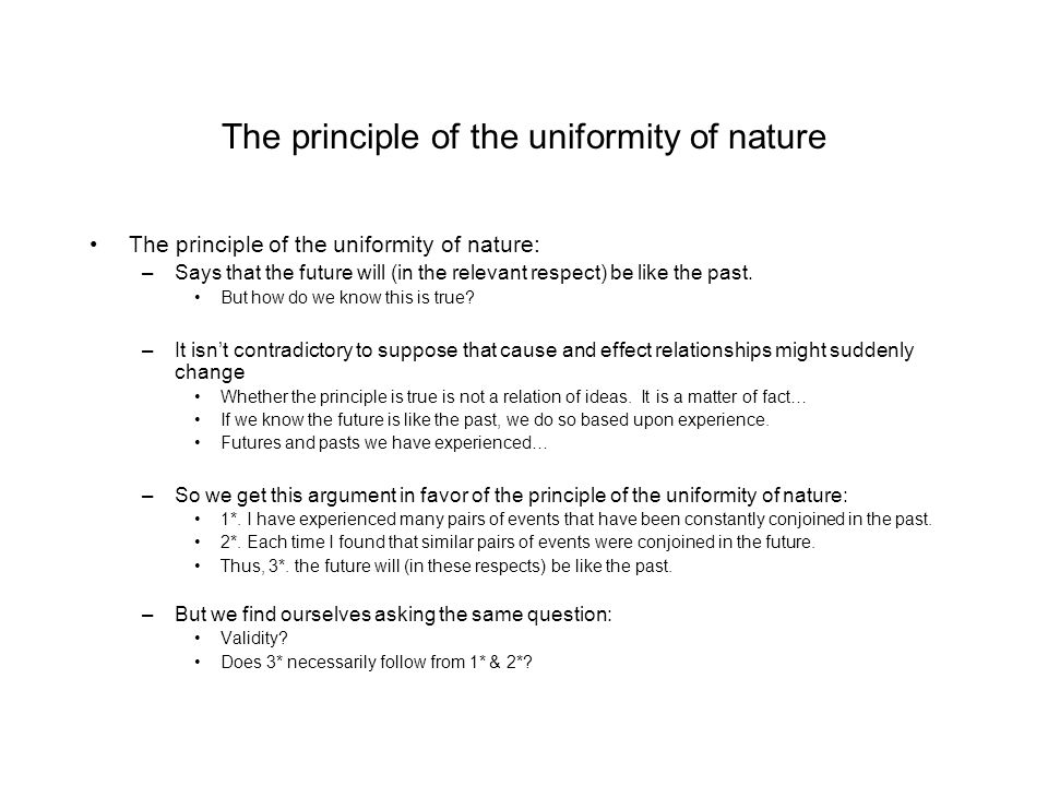 The principle of the uniformity of nature