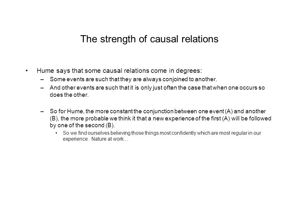 The strength of causal relations