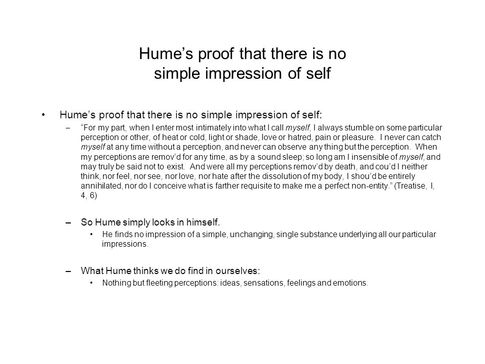 Hume's proof that there is no simple impression of self