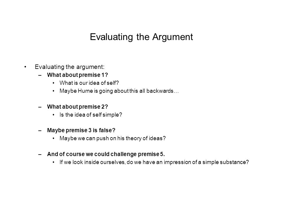 Evaluating the Argument