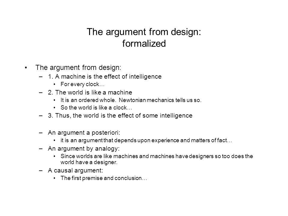 The argument from design: formalized
