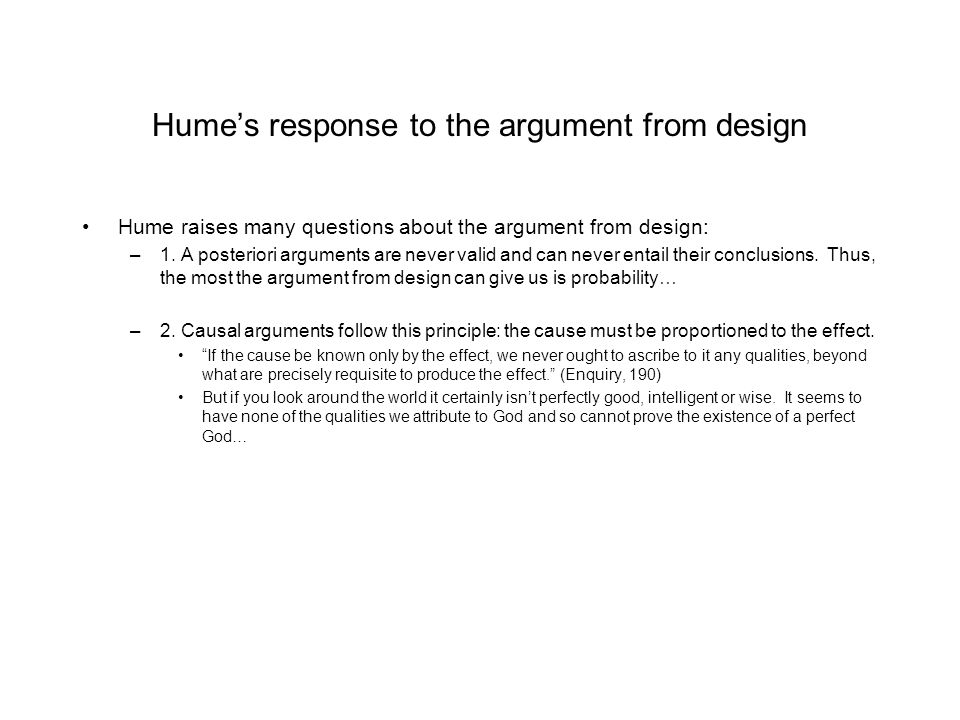 Hume's response to the argument from design