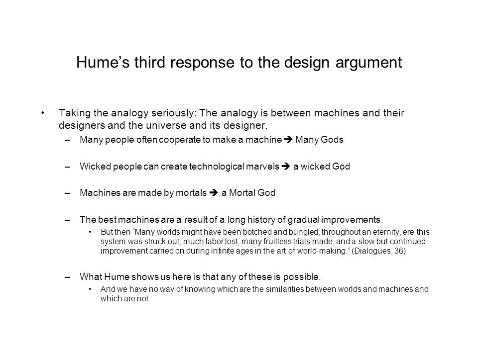 Hume's third response to the design argument