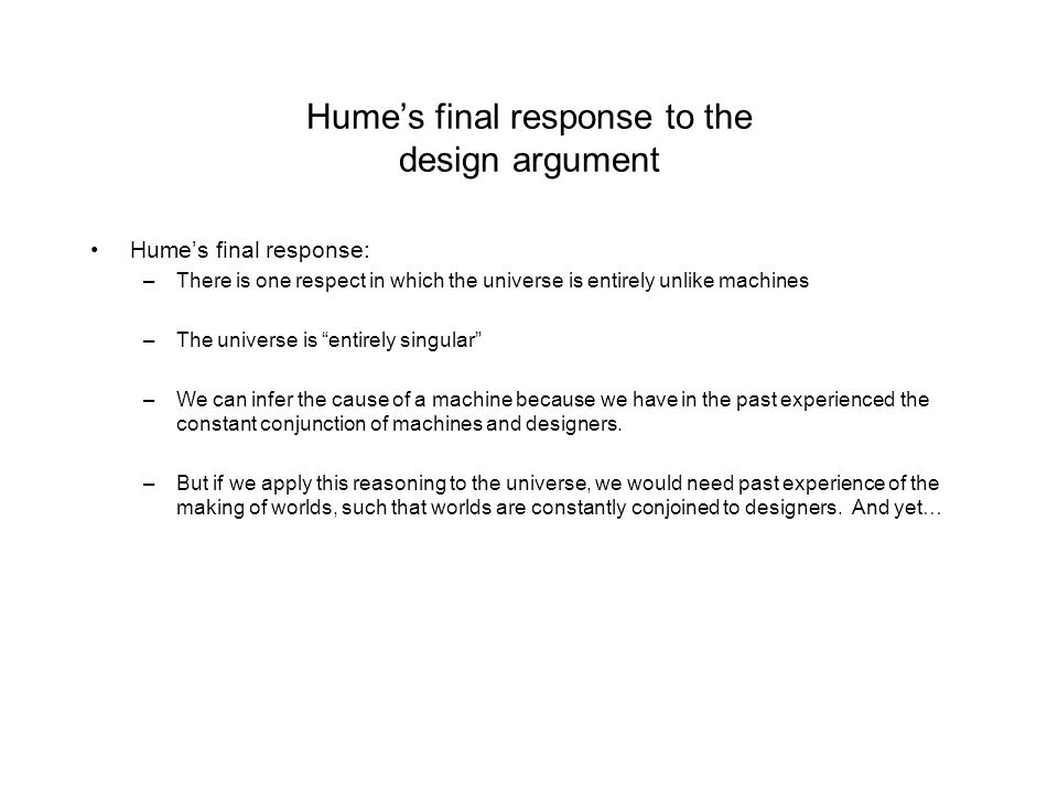 Hume's final response to the design argument