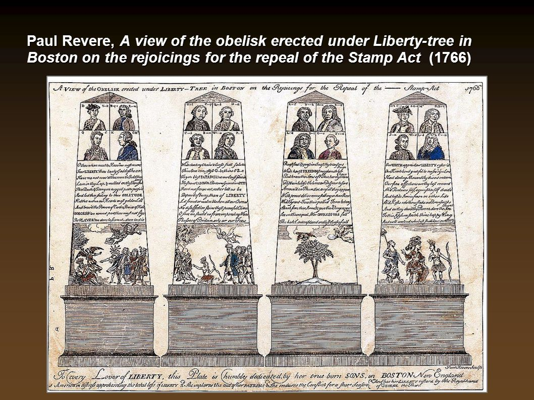 Paul Revere, A view of the obelisk erected under Liberty-tree in Boston on the rejoicings for the repeal of the Stamp Act (1766)