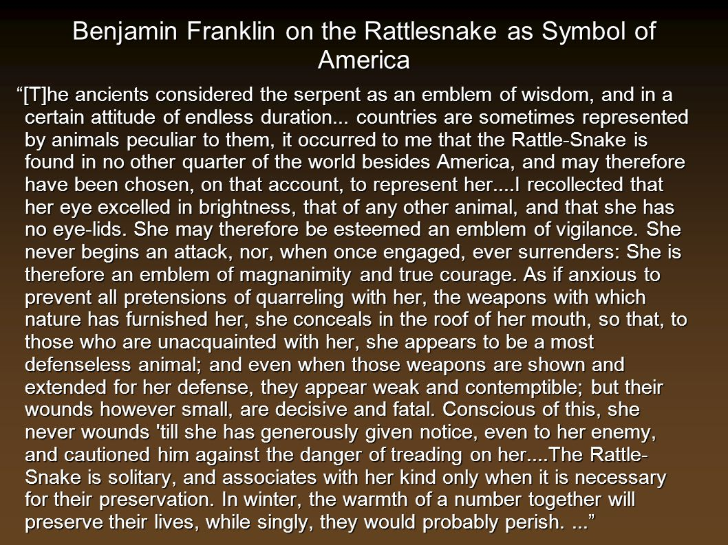 Benjamin Franklin on the Rattlesnake as Symbol of America