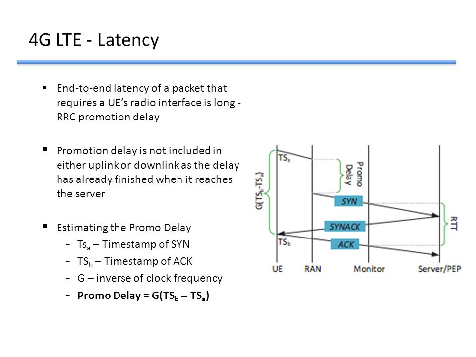 4G LTE - Latency End-to-end latency of a packet that requires a UE's radio interface is long - RRC promotion delay.