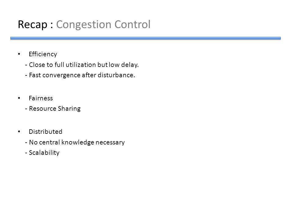 Recap : Congestion Control