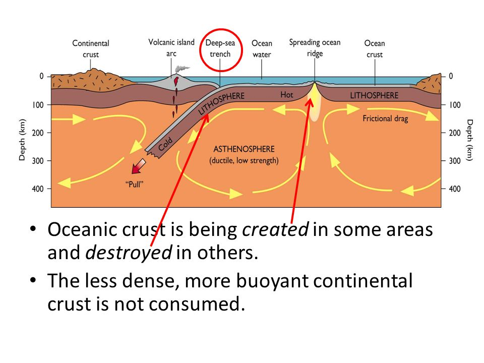 Oceanic crust is being created in some areas and destroyed in others.