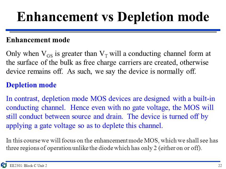 Enhancement vs Depletion mode