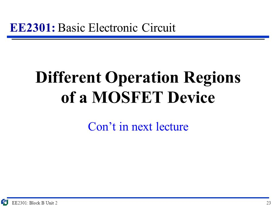 Different Operation Regions of a MOSFET Device