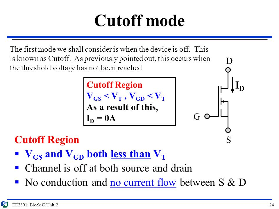 Cutoff mode ID Cutoff Region VGS and VGD both less than VT