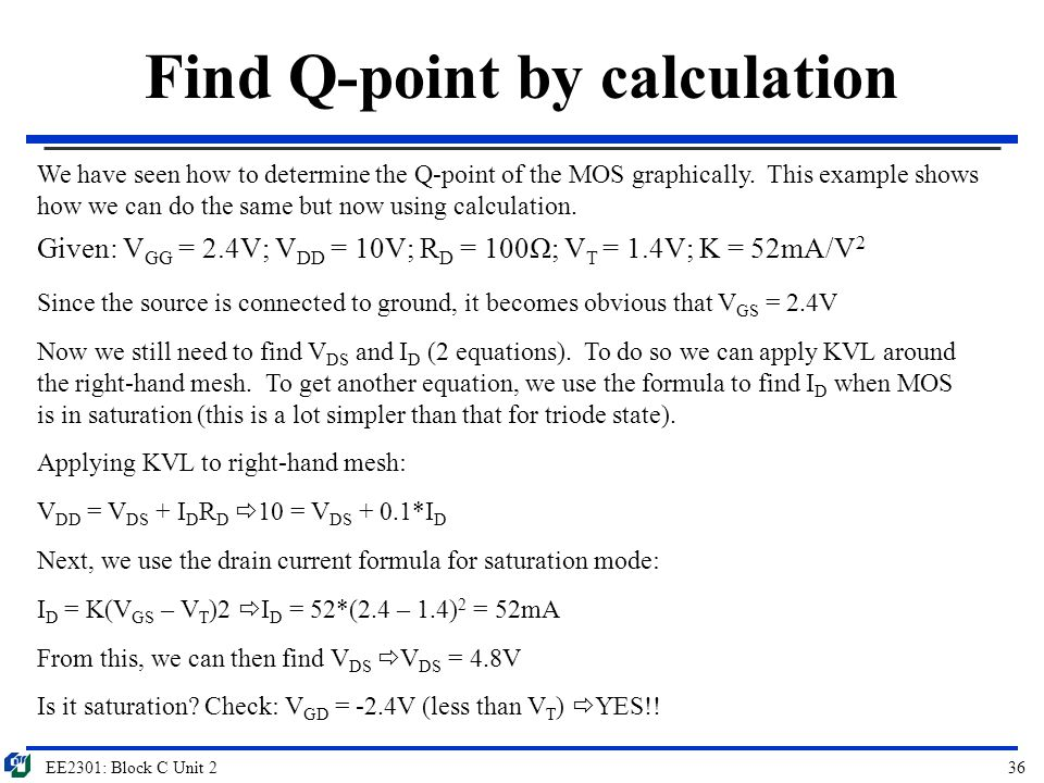 Find Q-point by calculation