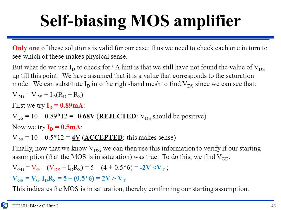 Self-biasing MOS amplifier