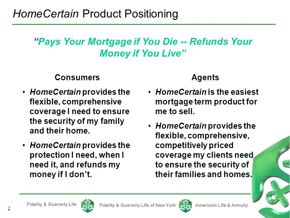 Pays Your Mortgage if You Die -- Refunds Your Money if You Live