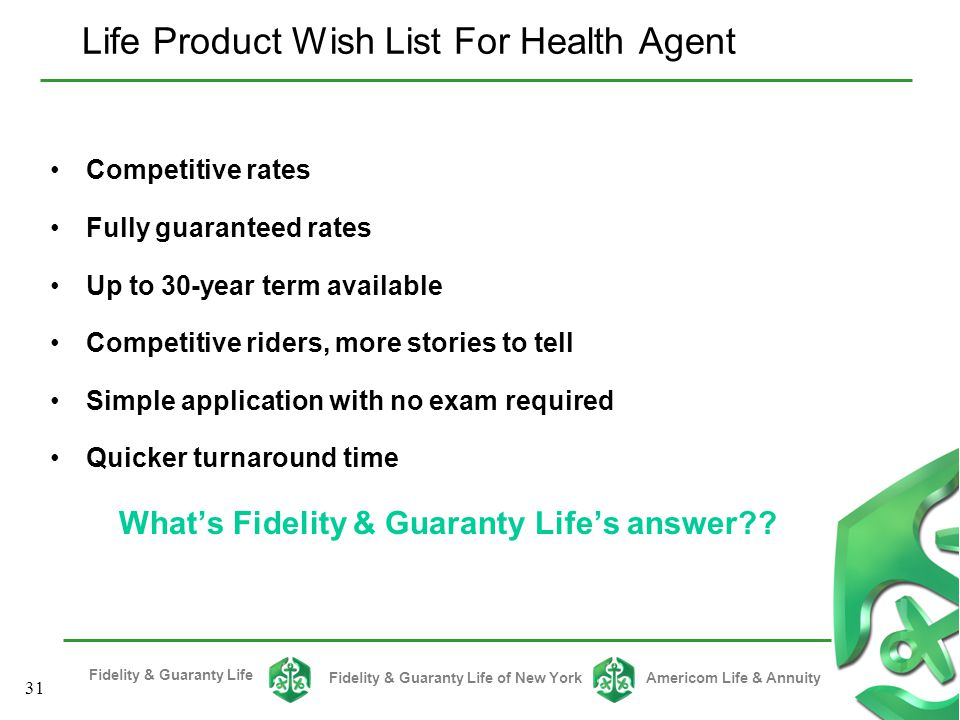 Life Product Wish List For Health Agent