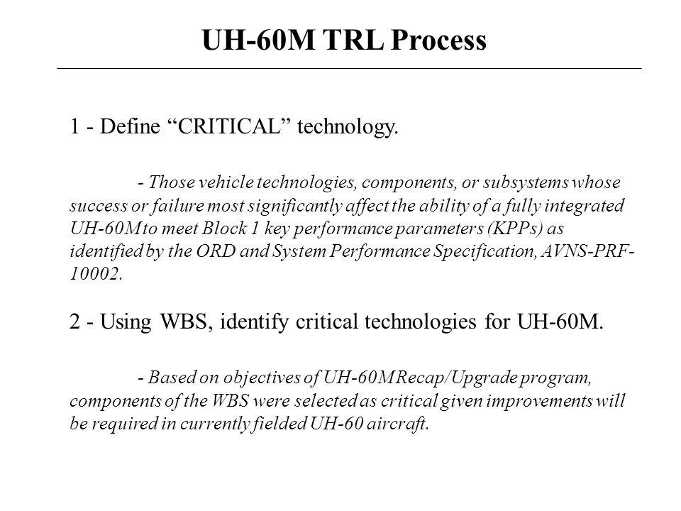 UH-60M TRL Process 1 - Define CRITICAL technology.