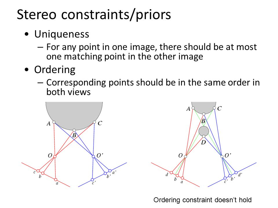 Stereo constraints/priors