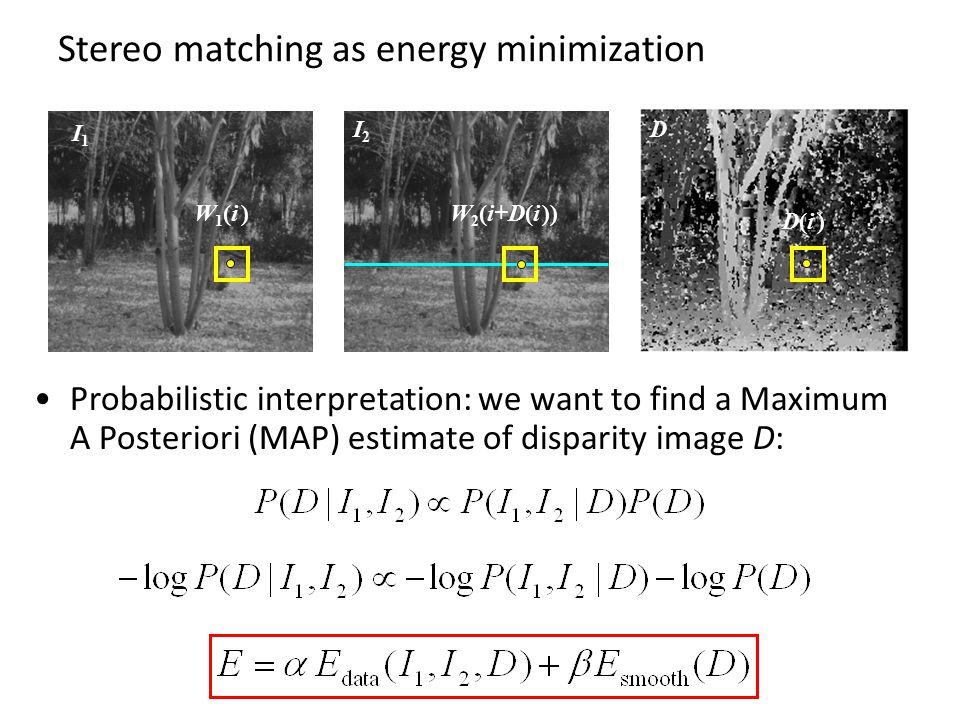 Stereo matching as energy minimization