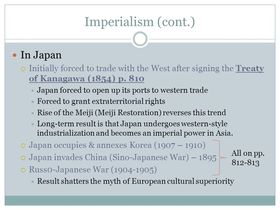 Imperialism (cont.) In Japan