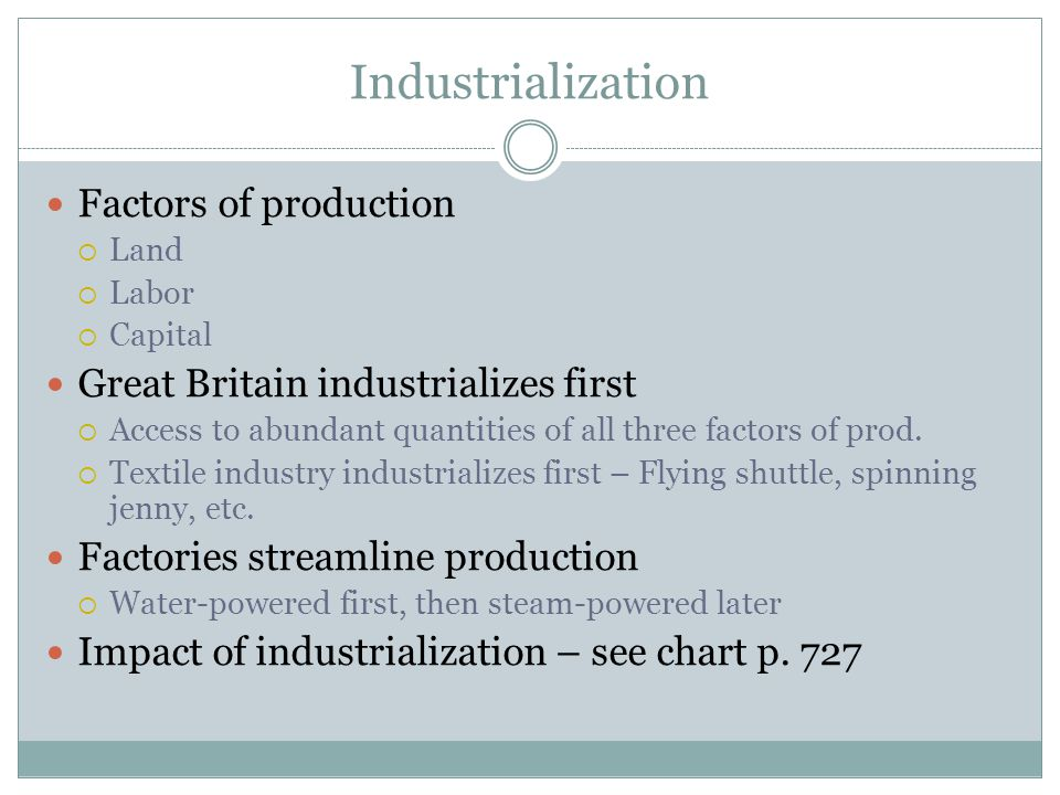 Industrialization Factors of production