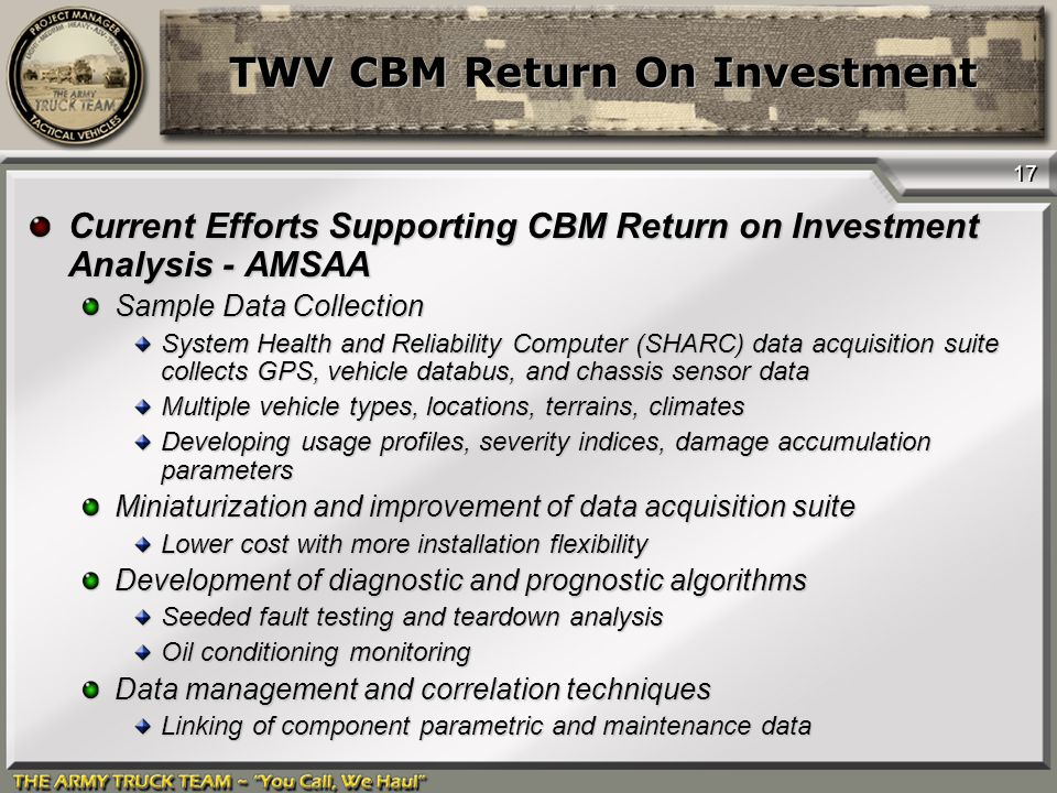 Twv Cbm Return On Investment  Ppt Video Online Download