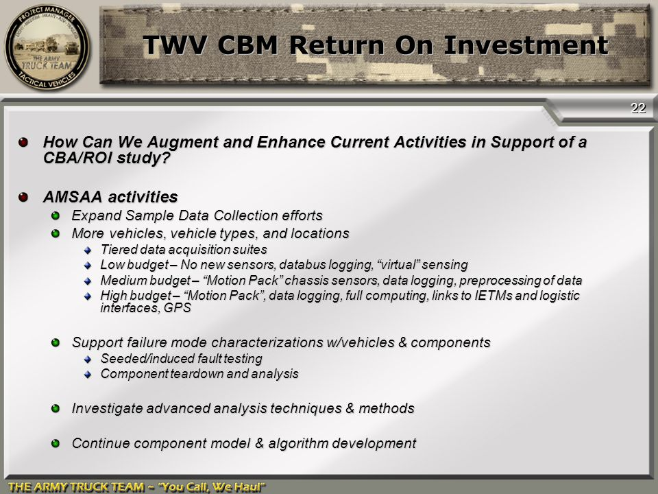 Twv Cbm Return On Investment - Ppt Download