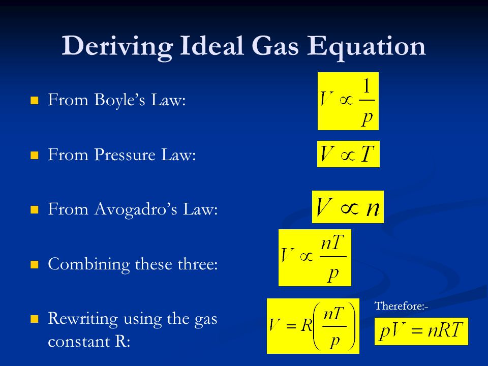 Deriving Ideal Gas Equation