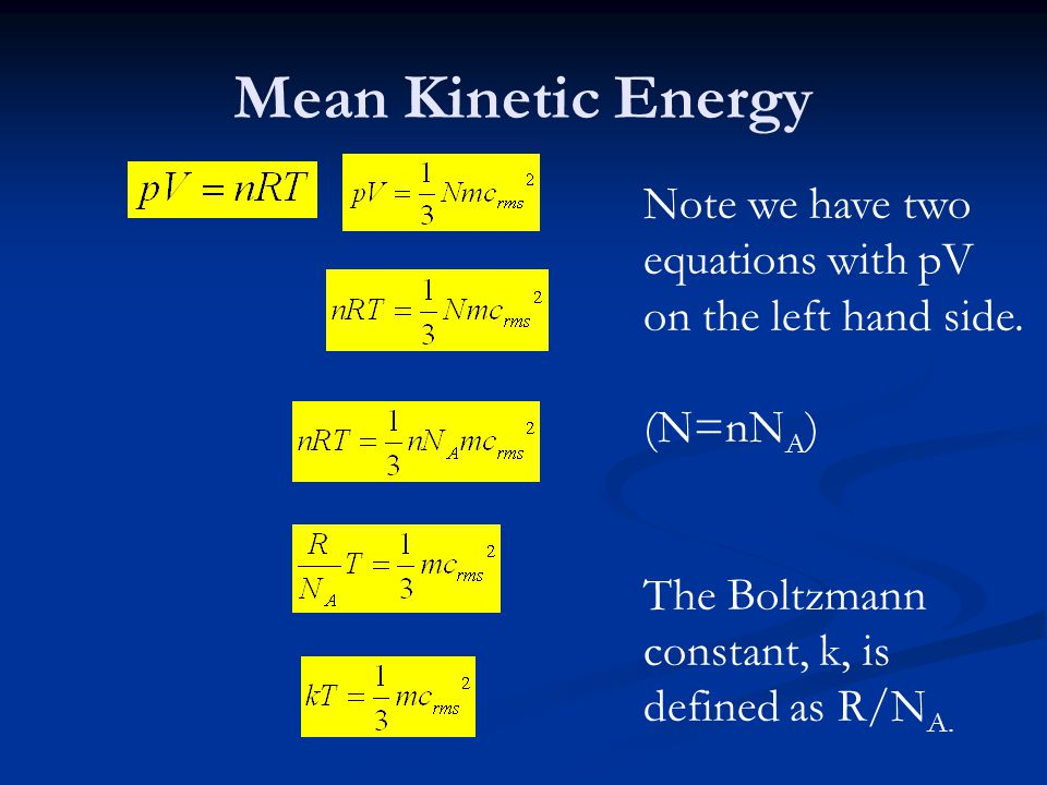 Mean Kinetic Energy Note we have two equations with pV on the left hand side.