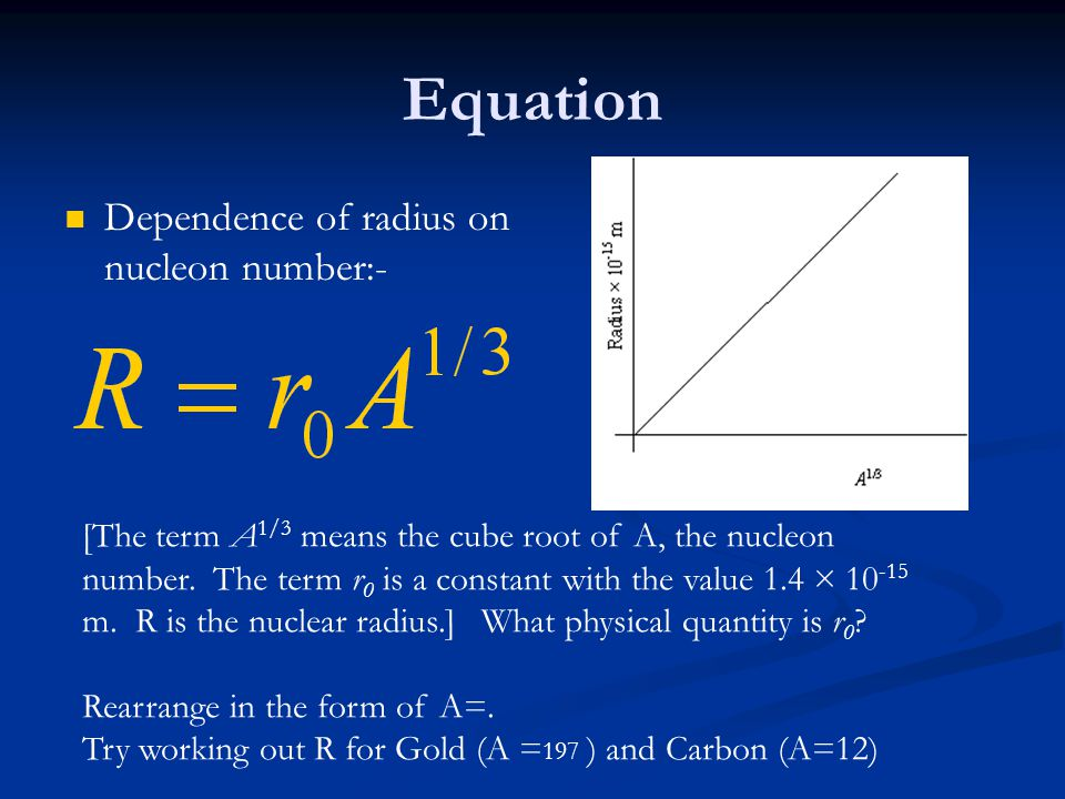 Equation Dependence of radius on nucleon number:-