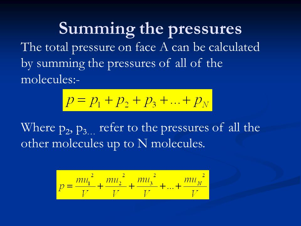 Summing the pressures The total pressure on face A can be calculated by summing the pressures of all of the molecules:-