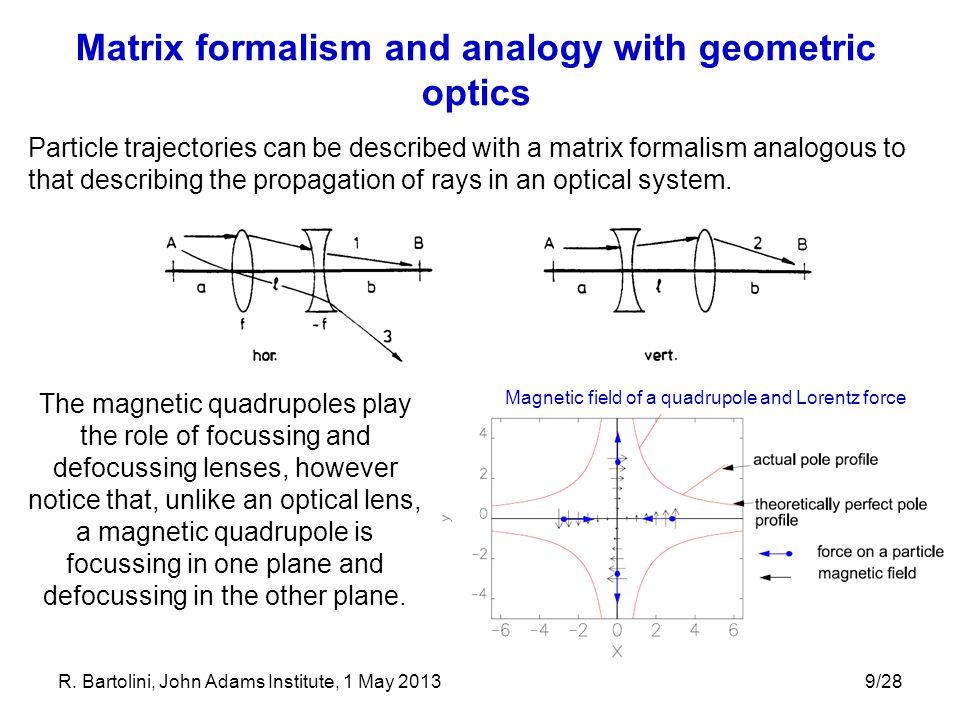 Matrix formalism and analogy with geometric optics
