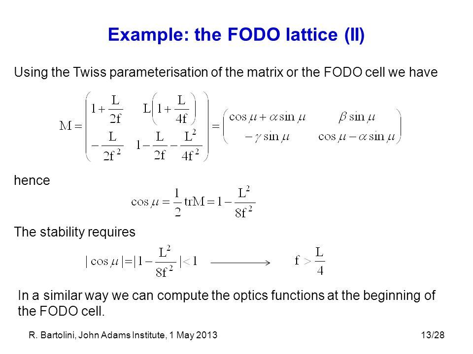 Example: the FODO lattice (II)