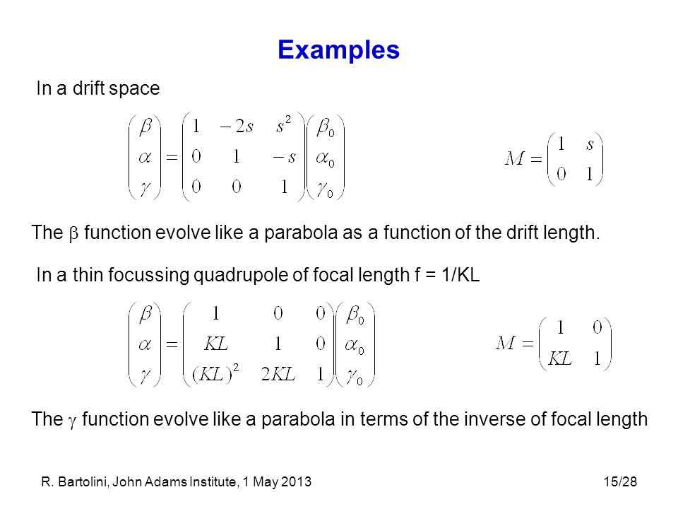 Examples In a drift space