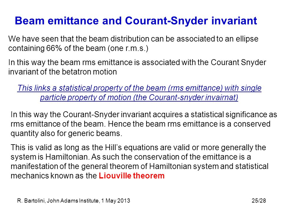 Beam emittance and Courant-Snyder invariant