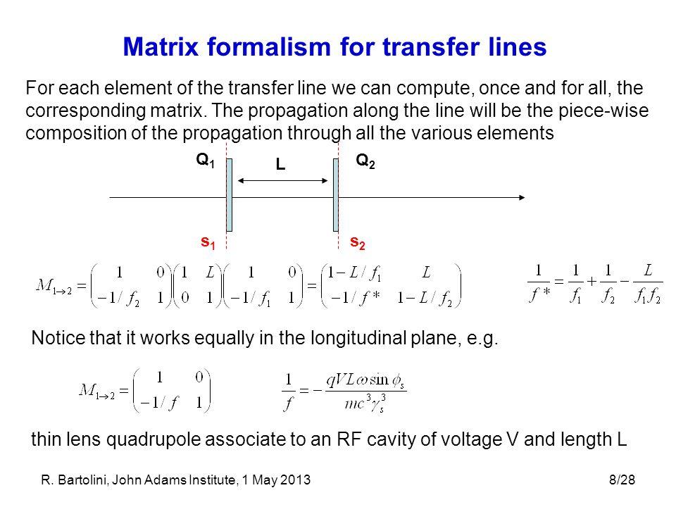 Matrix formalism for transfer lines