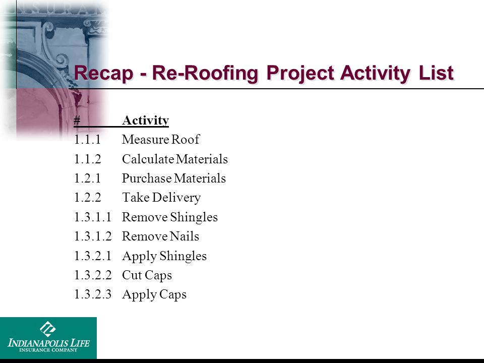 Recap - Re-Roofing Project Activity List