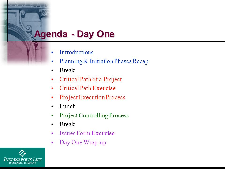 Agenda - Day One Introductions Planning & Initiation Phases Recap