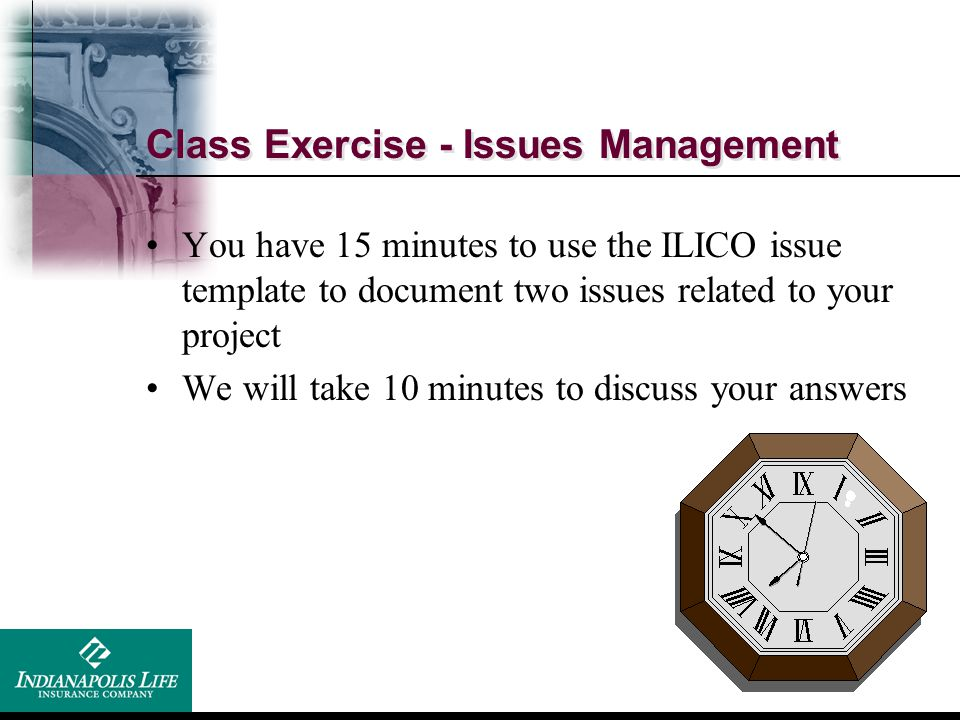 Class Exercise - Issues Management